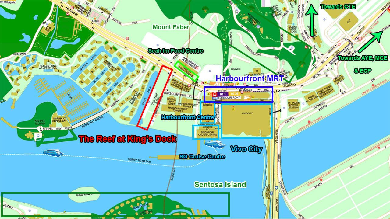 The Reef at King's Dock Condo Location Map